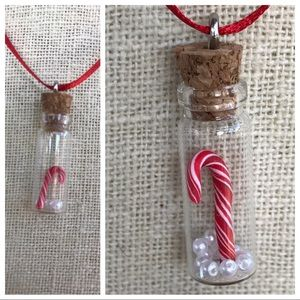 Jewelry - Necklace Holiday Candy Cane Charm Bottle Handmade